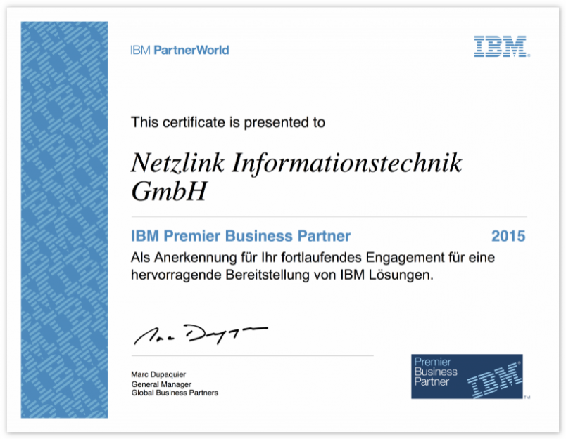 Netzlink IBM Premier Business Partner Zertifikat